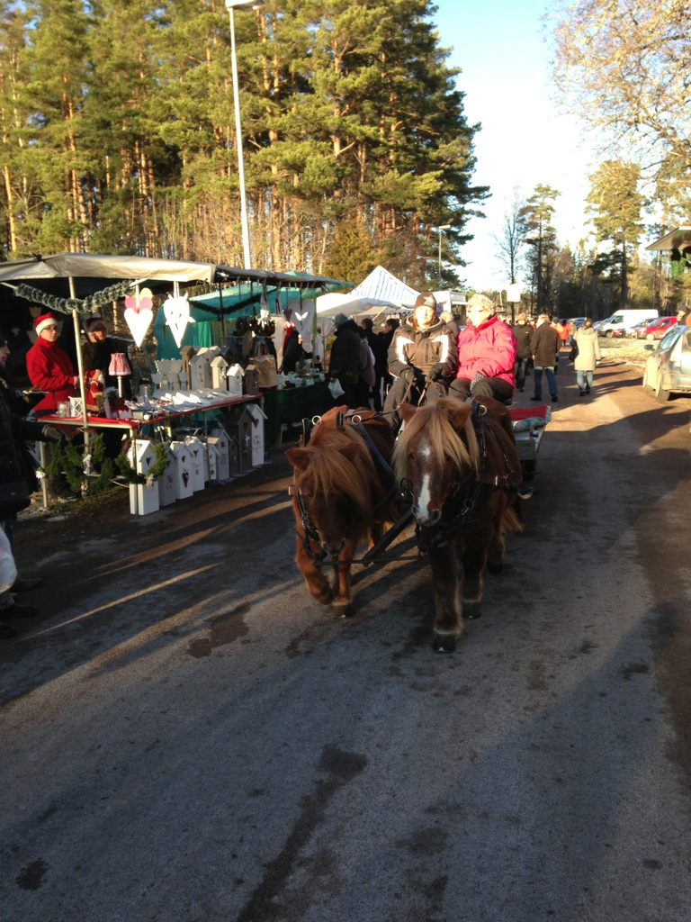Hästar med vagn och glada barn